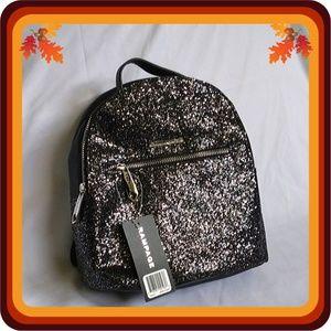 NWT Rampage Black Glitter Dome Midi Backpack